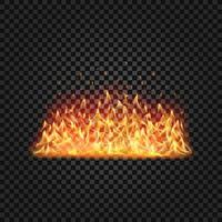 Realistic fire flames set on transparent black background vector