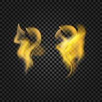 Set of realistic fire flames with transparency  background vector