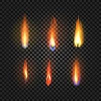 six set of realistic fire flames vector