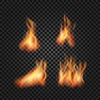 Collection of realistic fire flames vector
