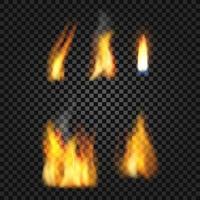 Set of realistic fire flames vector