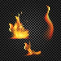 Realistic burning fire flames with shiny bright elements. vector