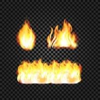 Realistic fire flames. Transparent torch effect vector
