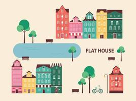A town with classic European old buildings. vector