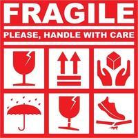 imprimible frágil por favor manipule con cuidado - color rojo blanco vector