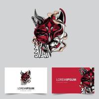 satan and fox mascot logo vector