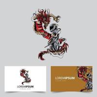 rider sword and dragon mascot logo vector