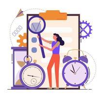 Self discipline flat concept illustration with time management vector
