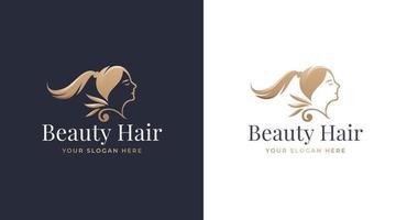woman hair salon gold gradient logo design vector