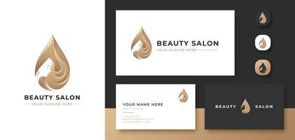 beauty hair oil treatment logo design vector