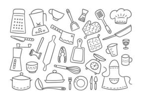 Kitchen tools and tableware. Cook. Hand drawn set of elements vector