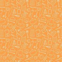 Kitchen tools and tableware. Cook. Seamless pattern. Hand drawn vector