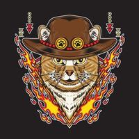 Cat wearing straw hat and have fire element vector illustration