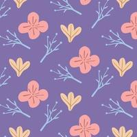 seamless pattern of flower and leaves for fabric vector