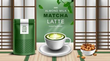 Kraft paper foil zip lock bag with Green tea latte cup and almond milk vector