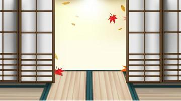 Autumn season and red maple leaves in Japanese room. vector