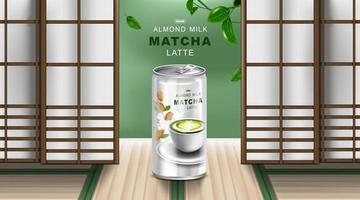Green tea latte and almond milk in aluminium can. vector