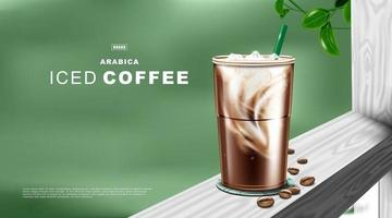Iced coffee latte in plastic cup on natural green color background. vector