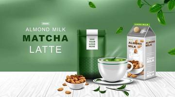 Kraft paper foil zip lock bag with Green tea latte and almond milk. vector