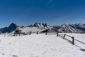 View of the snowy Belluno Dolomites photo
