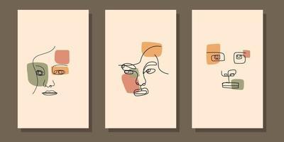 abstract aesthetic mid century modern line art face boho poster vector