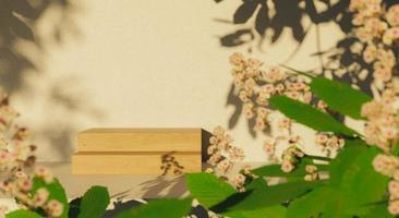 wooden podium surrounded by leaves and flowers photo