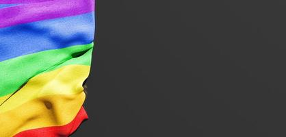 gay pride flag with copy space. 3d render photo