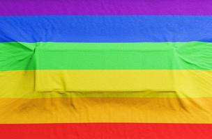 bandera del orgullo gay con relieve rectangular para texto. Render 3d foto