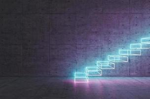 escaleras abstractas con iluminación de neón foto