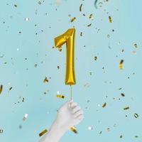 One year birthday golden balloon photo