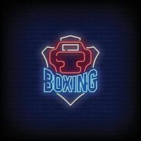 Boxing Neon Signboard On Brick Wall vector