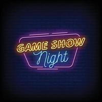 Game Show Night Neon Signboard On Brick Wall vector