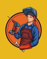 prima de ilustración de logotipo de trabajo femenino vector