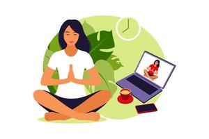 Girl watching online classes on laptop, practicing yoga, meditation. vector
