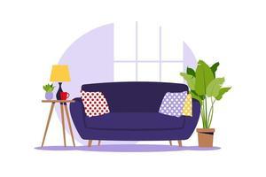 Modern sofa with mini table. vector