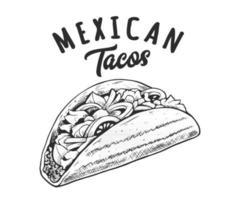 Tacos Retro Emblem Black and White vector