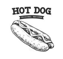 Hot Dog Retro Emblem vector