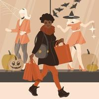 African American woman is shopping before Halloween vector