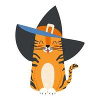 Cute cartoon character ginger tabby cat wearing a witch hat vector