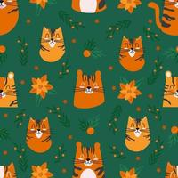 Seamless pattern with cute tigers characters and Christmas decorations vector