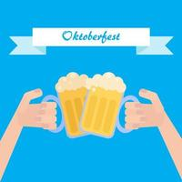 Octoberfest poster with beer vector