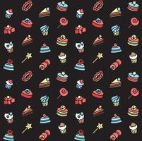 Seamless pattern of bakery and cake icons. Candy, sweet set vector