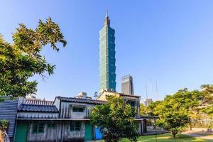 Taipei, Taiwan tower at blue sky photo