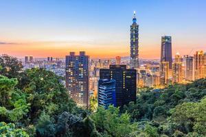 Taiwan city skyline at sunset from view of Taipei City photo