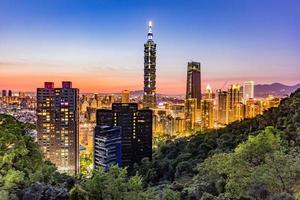 Taiwan city skyline at sunset from top of Elephant Mountain photo