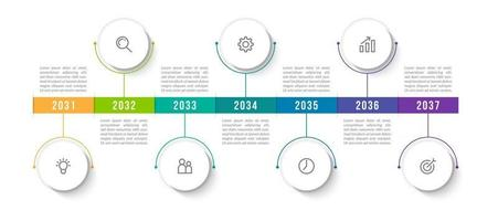 Minimal Infographic with 7 Steps vector
