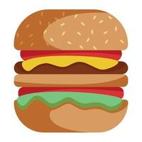 Realistic big hamburger on white background - Vector