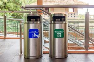 Stainless steel trash and recycle bins. types of rubbish. photo