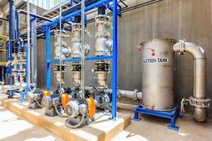 Steel metal pipes and blue pumps and valves for water treatment system photo