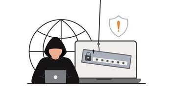 ataque de piratas informáticos. fraude con datos de usuario. phishing en internet, vector